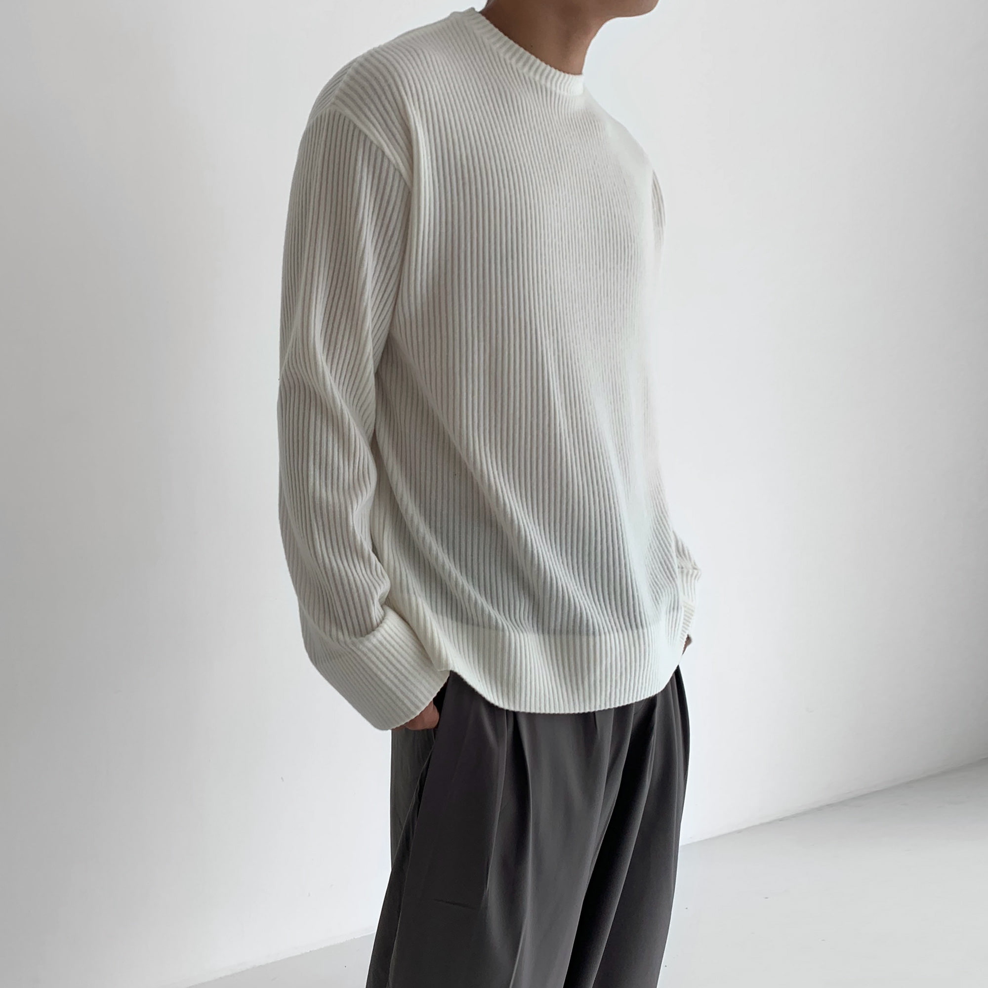 Monotone Ribbed Knit Tee (5Color)