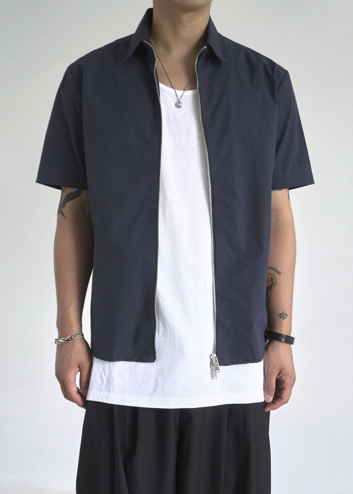 2Way Minimal Zip-up Half Shirts (2Color)