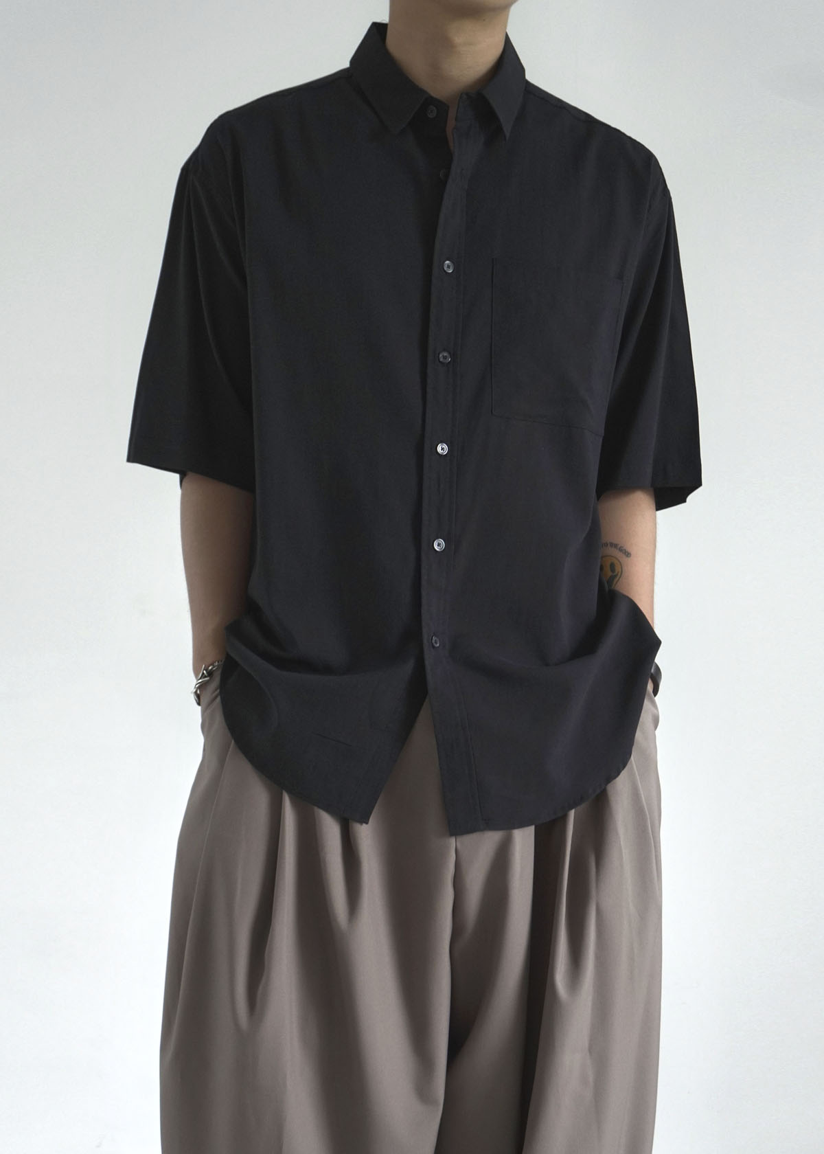 Maxi Over Pocket Shirring Half Shirts (4Color)