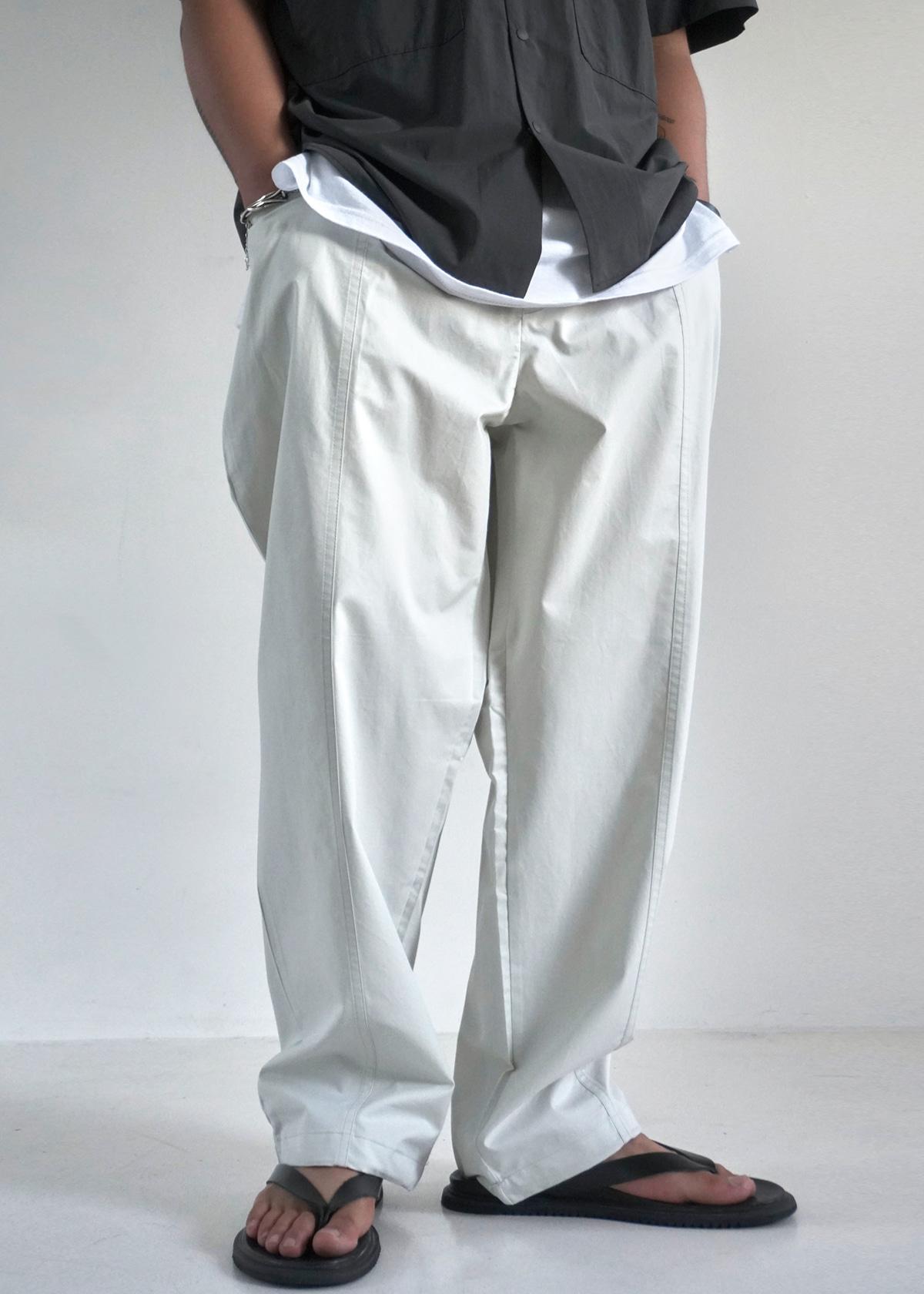 Incision Washed String Cotton Pants (3Color)