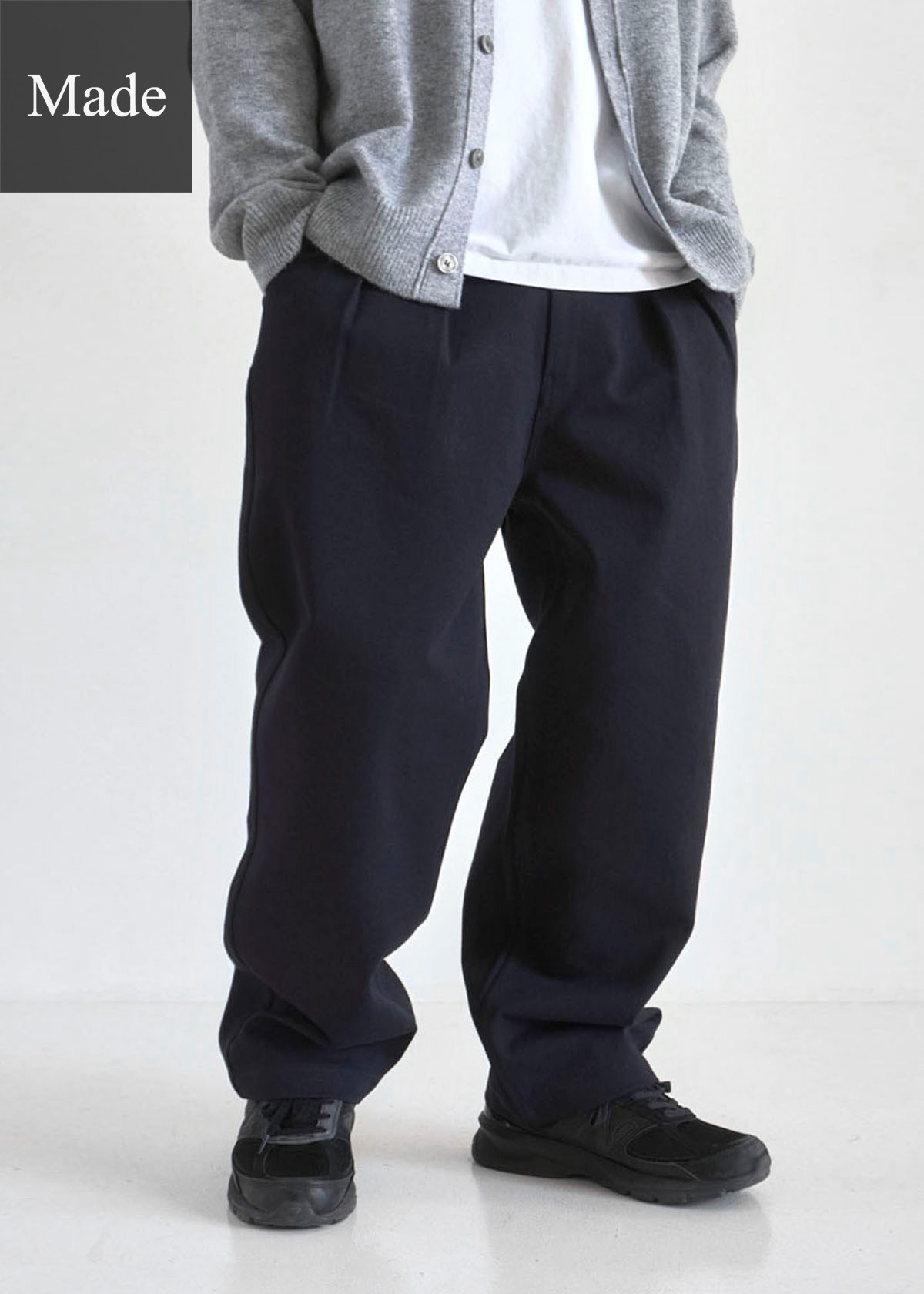 [Hank]Twill Cotton Two Tuck Wide Pants (Dark navy)