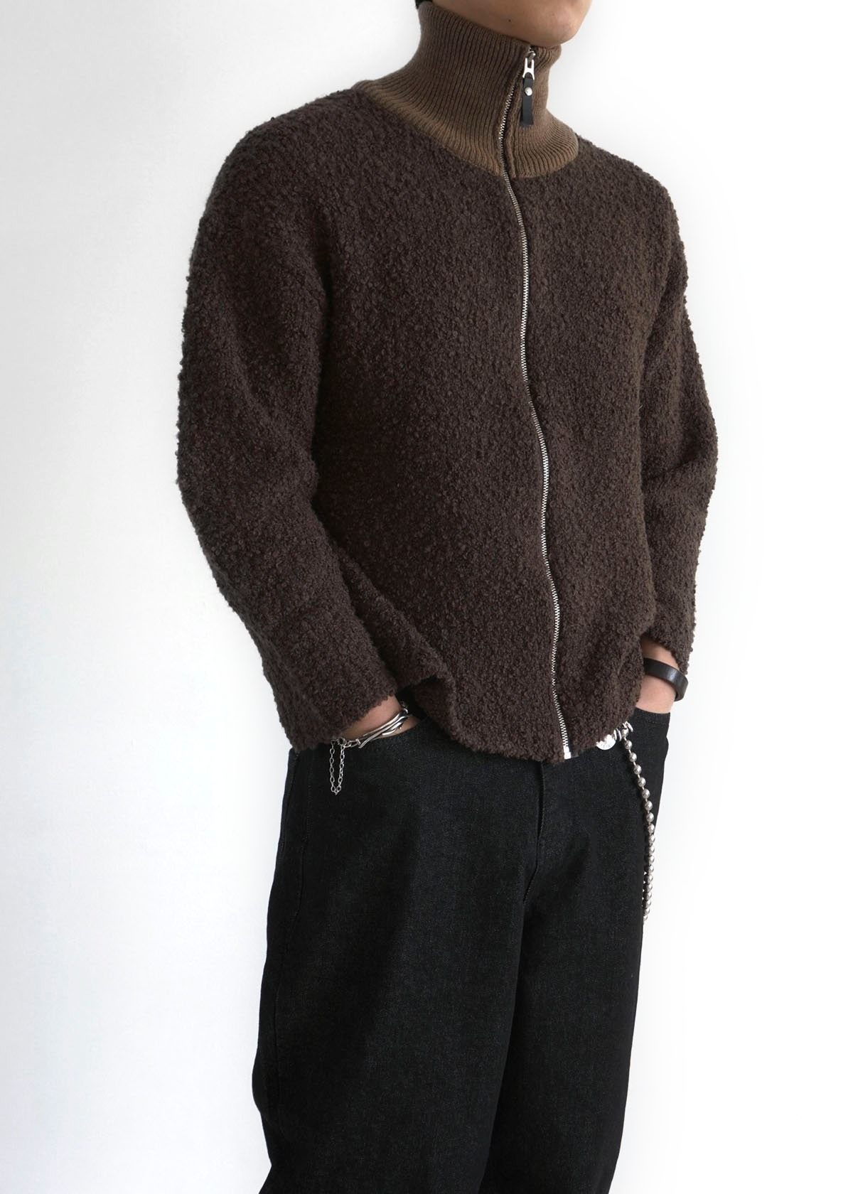 Boucle High-neck Zip-up Cardigan (2Color)